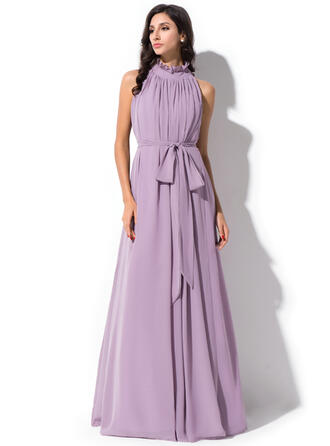 A-Line High Neck Floor-Length Chiffon Prom Dresses With Bow(s) Cascading Ruffles