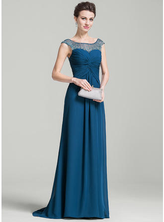 A-Line/Princess Scoop Neck Chiffon Sleeveless Sweep Train Ruffle Beading Sequins Mother of the Bride Dresses