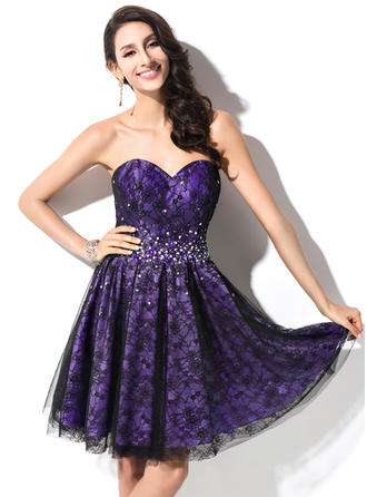 A-Line/Princess Sweetheart Taffeta Lace Sleeveless Short/Mini Beading Sequins Homecoming Dresses
