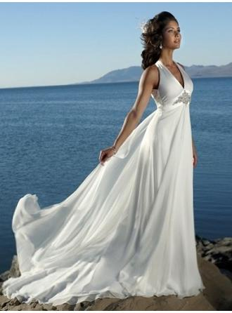 Empire V-neck Court Train Wedding Dresses With Beading