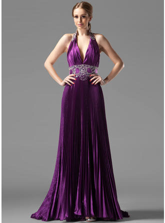 A-Line/Princess Halter Sweep Train Evening Dresses With Beading Pleated