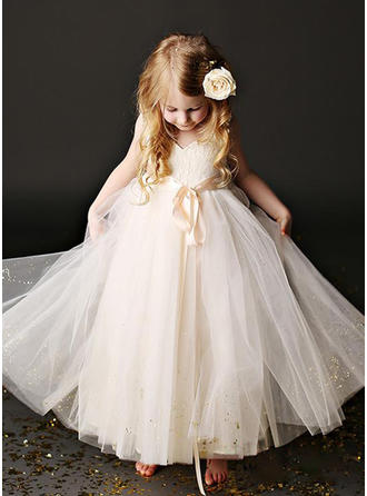 A-Line/Princess Scoop Neck Ankle-length With Sash Tulle Flower Girl Dresses