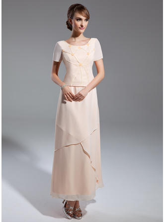 A-Linie/Princess-Linie U-Ausschnitt Chiffon Kurze Ärmel Knöchellang Perlstickerei Kleider für die Brautmutter (008211381)