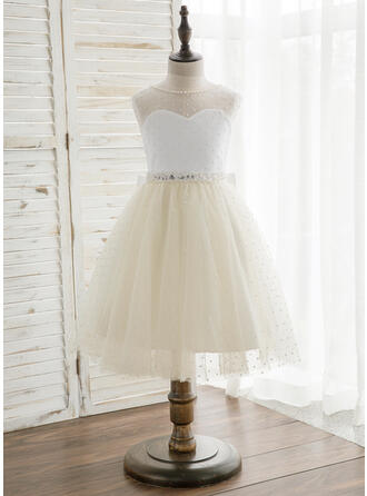 A-Line/Princess Knee-length Flower Girl Dress - Satin/Tulle Sleeveless Scoop Neck With V Back