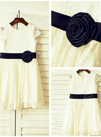2019 New Tea-length A-Line/Princess Flower Girl Dresses Scoop Neck Lace Sleeveless