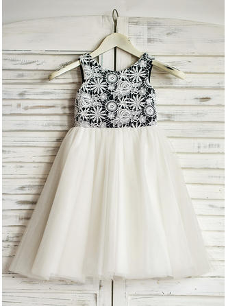 Magnificent Tea-length A-Line/Princess Flower Girl Dresses Scoop Neck Tulle Sleeveless