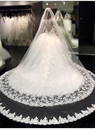 Ball-Gown Scoop Royal Train Wedding Dress With Beading Appliques Lace Sequins