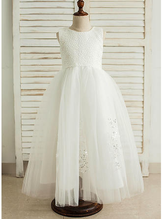 Scoop Neck A-Line/Princess Flower Girl Dresses Satin/Tulle Sequins Sleeveless Floor-length