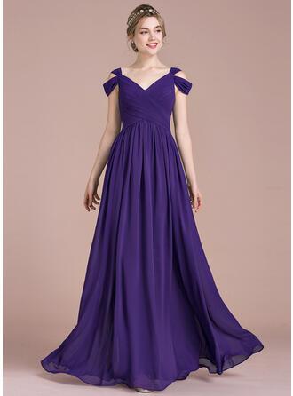 A-Line/Princess Floor-Length Chiffon Bridesmaid Dress With Ruffle