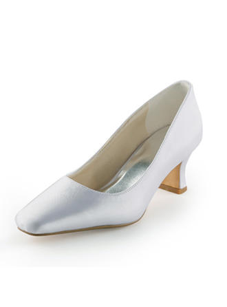 Women's Closed Toe Pumps Spool Heel Satin Wedding Shoes
