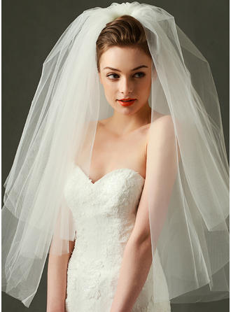 Fingertip Bridal Veils Tulle Two-tier With Cut Edge 31.50 in (80cm) Wedding Veils