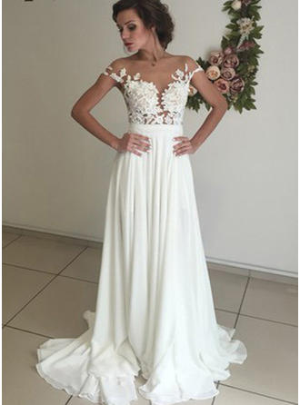 Sexy Sweep Train A-Line/Princess Wedding Dresses Scoop Neck Chiffon Short Sleeves