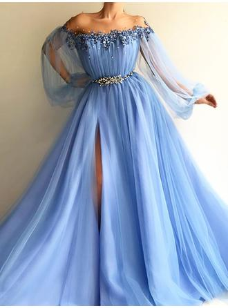 Tulle Long Sleeves A-Line/Princess Prom Dresses Scoop Neck Beading Floor-Length