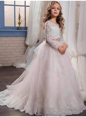 Ball Gown Scoop Neck Sweep Train With Beading/Appliques Tulle/Lace Flower Girl Dresses