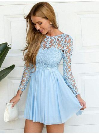 A-Line/Princess Scoop Neck Chiffon Long Sleeves Short/Mini Lace Evening Dresses