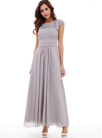 A-Line/Princess Chiffon Bridesmaid Dresses Beading Pleated Scoop Neck Sleeveless Ankle-Length