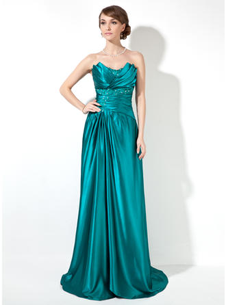 Charmeuse Sleeveless Sheath/Column Prom Dresses Scalloped Neck Ruffle Beading Sweep Train