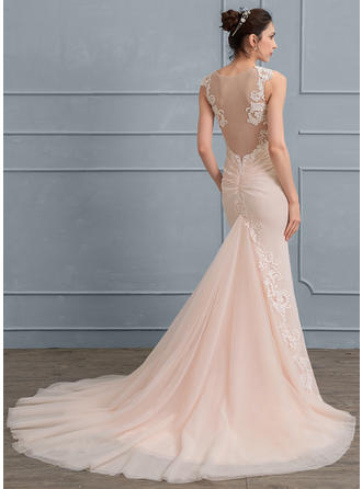 Appliques Trumpet/Mermaid - Chiffon Tulle Wedding Dresses