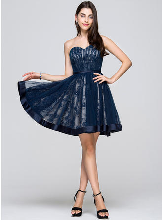 A-Line/Princess Short/Mini Tulle Lace Sweetheart Homecoming Dresses