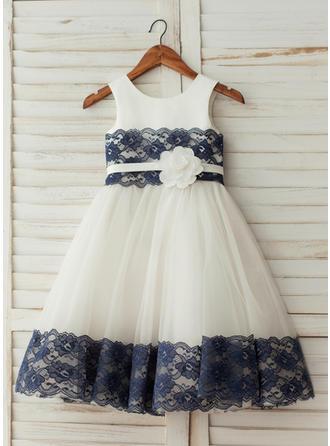 Vestidos princesa/ Formato A Coquetel Vestidos de Menina das Flores - Cetim/Tule Sem magas Decote redondo com fecho de correr