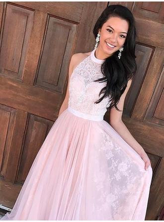 Tulle Sleeveless A-Line/Princess Prom Dresses Halter Lace Beading Sweep Train