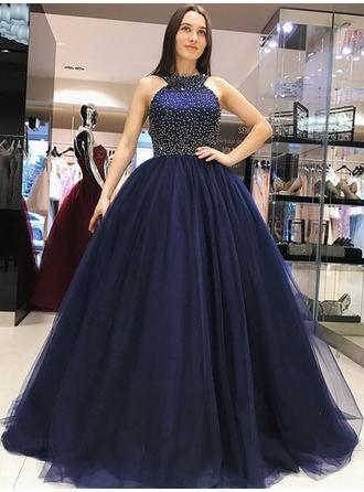 Ball-Gown Tulle Prom Dresses Stunning Sweep Train Scoop Neck Sleeveless (018218515)