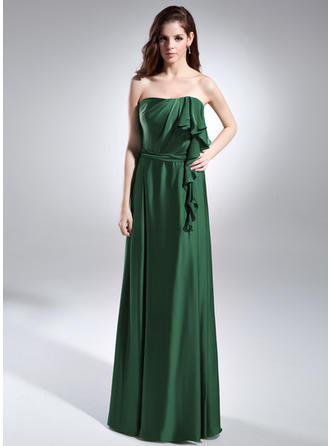 A-Line/Princess Strapless Charmeuse Sleeveless Floor-Length Cascading Ruffles Evening Dresses (017015596)