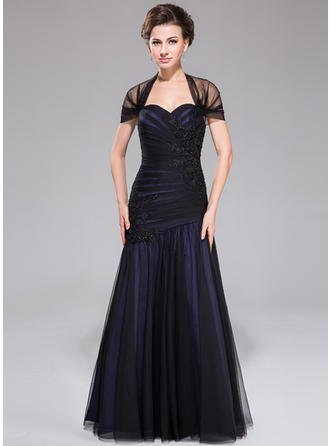 Trumpet/Mermaid Taffeta Tulle Sleeveless Off-the-Shoulder Floor-Length Zipper Up Mother of the Bride Dresses