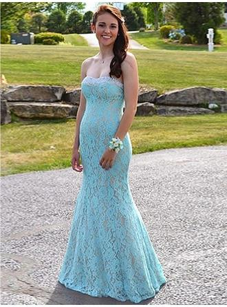 Lace Sleeveless Trumpet/Mermaid Prom Dresses Sweetheart Beading Floor-Length