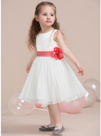 A-Line/Princess Tea-length Flower Girl Dress - Chiffon/Satin Sleeveless Scoop Neck With Flower(s)/Bow(s)