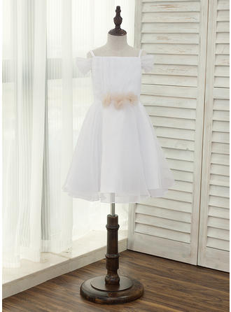 A-Line/Princess Knee-length Flower Girl Dress - Tulle Sleeveless Straps With Flower(s)