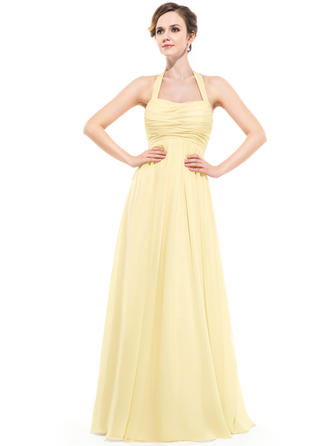 Chiffon Sleeveless Empire Bridesmaid Dresses Halter Ruffle Floor-Length