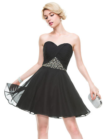 A-Line/Princess Chiffon Cocktail Dresses Ruffle Beading Sequins Sweetheart Sleeveless Short/Mini