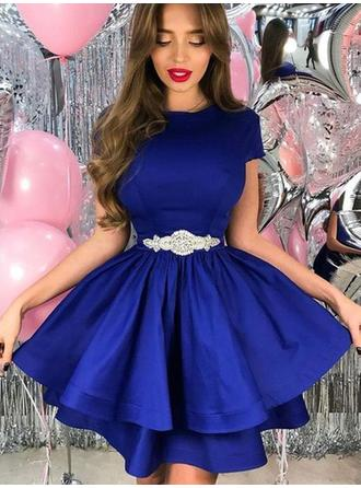 A-Line/Princess Scoop Neck Short/Mini Homecoming Dresses With Sash Crystal Brooch