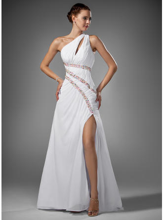 A-Line/Princess Chiffon Elegant Sweep Train One-Shoulder Sleeveless