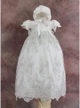 A-Line/Princess Scoop Neck Ankle-length Tulle Christening Gowns With Lace