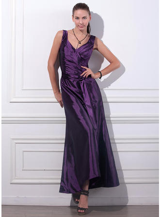 Trumpet/Mermaid V-neck Ankle-Length Taffeta Evening Dress With Ruffle