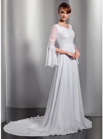 A-Linie/Princess-Linie V-Ausschnitt Chiffon Lange Ärmel Kapelle-schleppe Spitze Perlstickerei Kleider für die Brautmutter (008211359)
