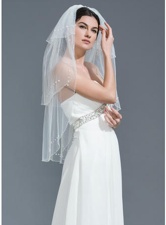 Three-tier Beaded Edge Fingertip Bridal Veils With Beading