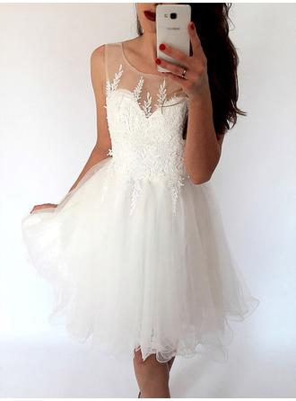 A-Line/Princess Tulle Cocktail Dresses Ruffle Scoop Neck Sleeveless Knee-Length (016217698)