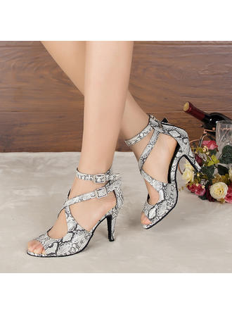 Women's Latin Heels Sandals Pumps Leatherette Dance Shoes