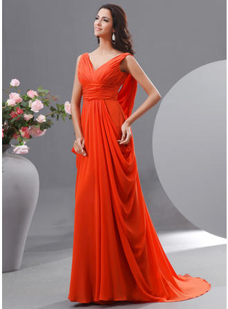 Newest Chiffon Evening Dresses A-Line/Princess Sweep Train V-neck Sleeveless