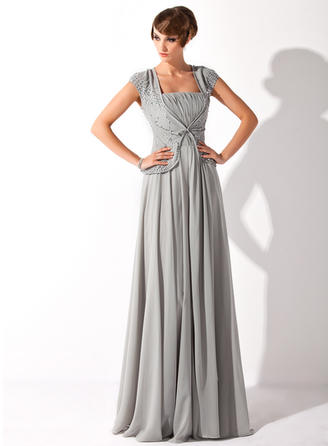 Chiffon Short Sleeves Mother of the Bride Dresses Square Neckline A-Line/Princess Ruffle Beading Sequins Floor-Length