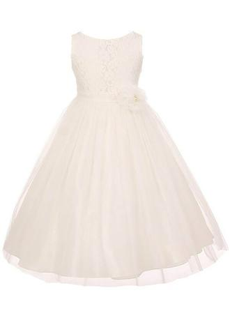 Scoop Neck A-Line/Princess Flower Girl Dresses Tulle/Lace Sash Sleeveless Ankle-length
