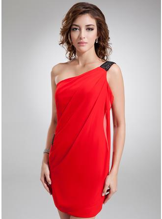 Sheath/Column One-Shoulder Short/Mini Cocktail Dresses With Sash
