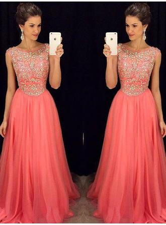 Sleeveless A-Line/Princess Prom Dresses Scoop Neck Beading Floor-Length