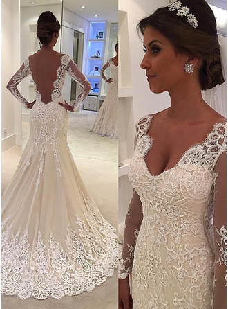 Tulle Lace Court Train With Sleeves Wedding Dresses