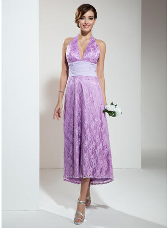 A-Line/Princess Asymmetrical Lace Asymmetrical Bridesmaid Dresses