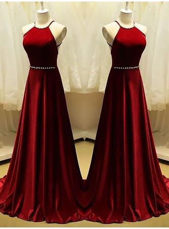 Satin Sleeveless A-Line/Princess Prom Dresses Scoop Neck Beading Sweep Train