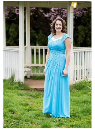 Chiffon Mother of the Bride Dresses Sweetheart A-Line/Princess Ruffle Beading Floor-Length